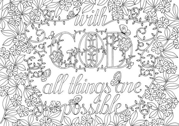 Scripture Coloring Pages For Adults  Adult Colouring Page Bible Verse Matthew by