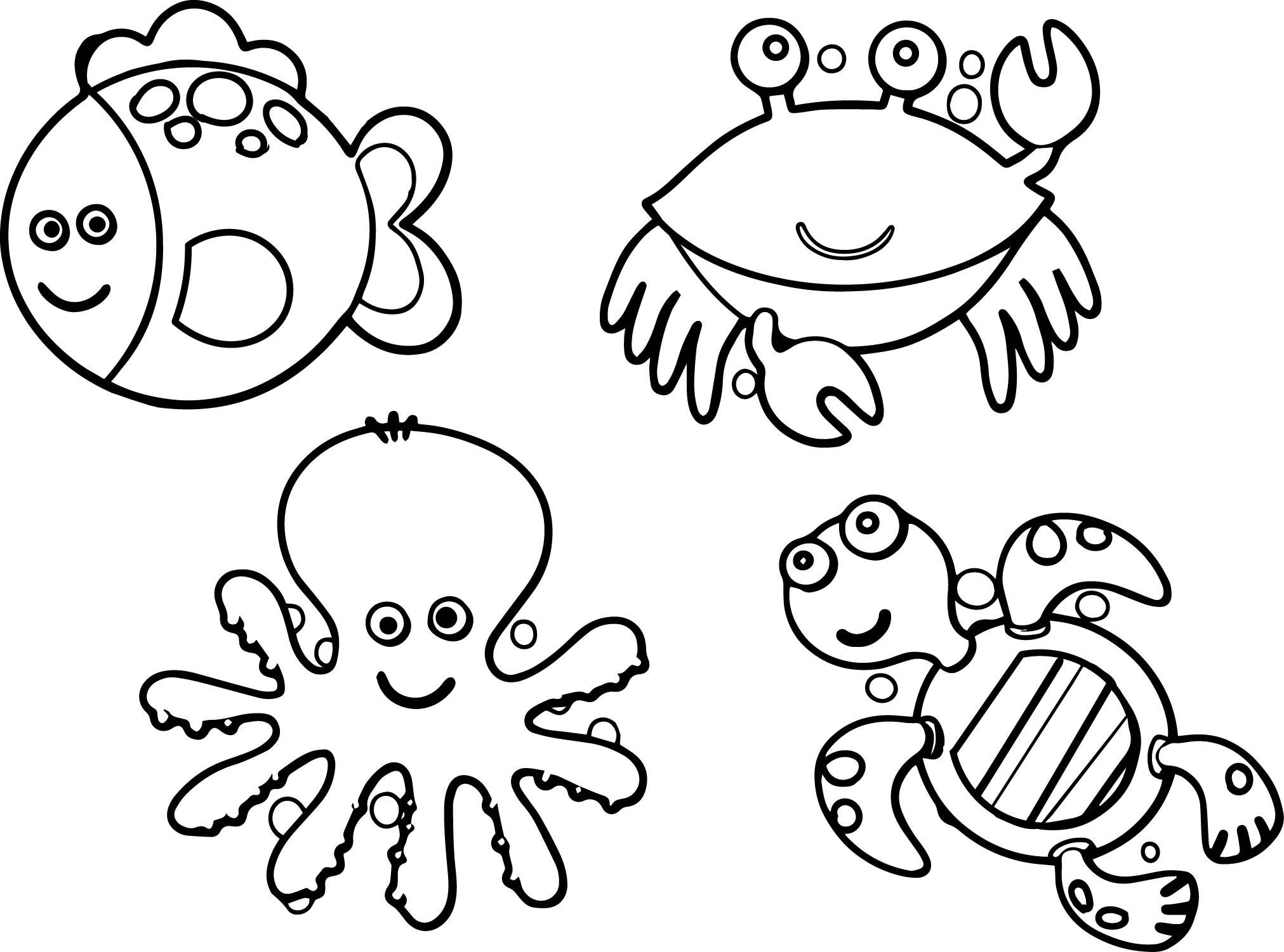Sea Creature Coloring Pages  Sea Life Animals Coloring Page