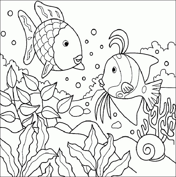 Sea Creature Coloring Pages  Sea creature coloring pages Three fish