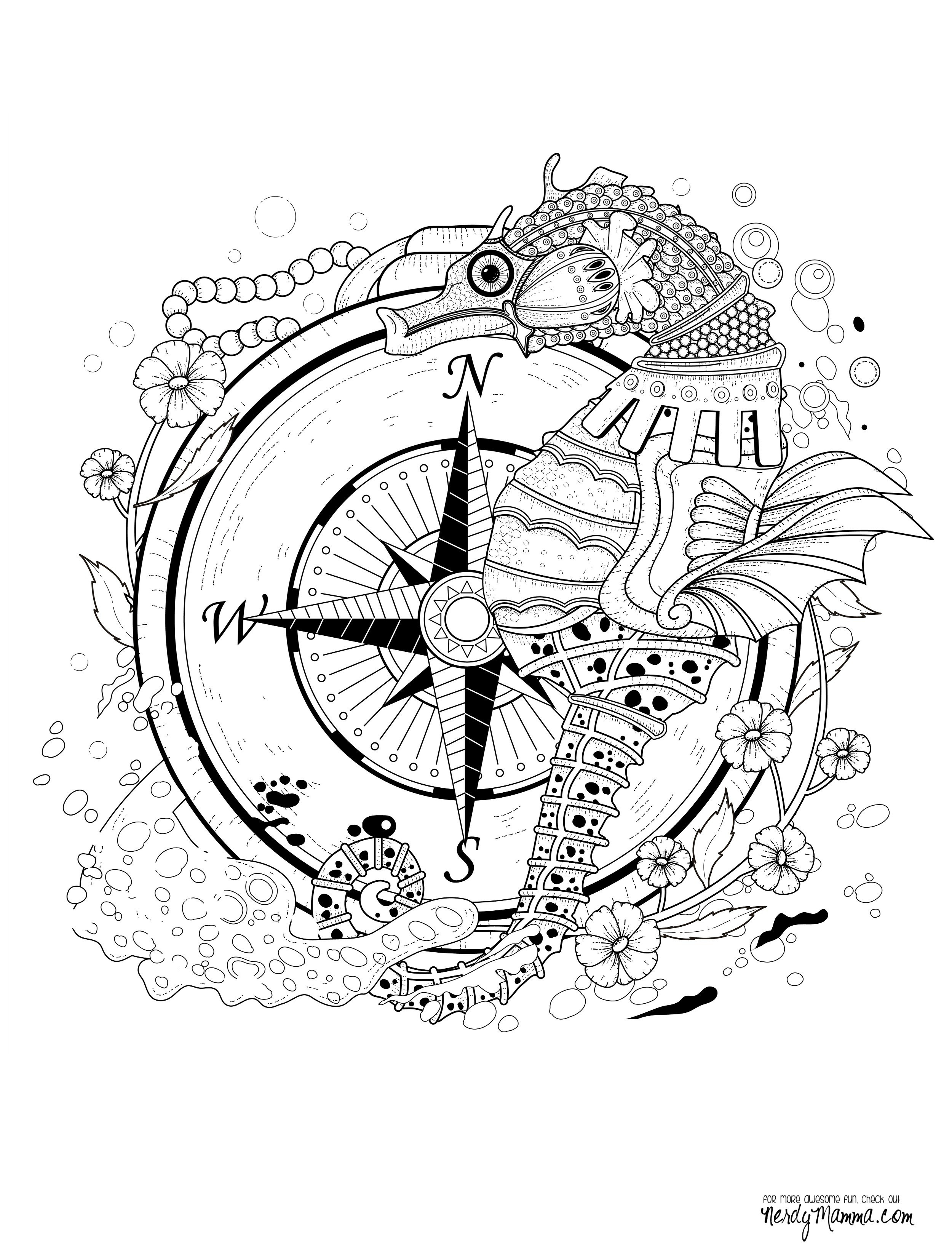 Seahorse Coloring Pages For Adults  11 Free Printable Adult Coloring Pages