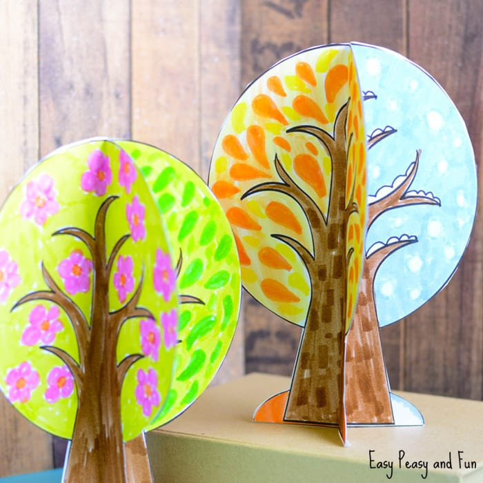 Season Crafts For Preschoolers  Four Seasons Tree Craft With Template Easy Peasy and Fun
