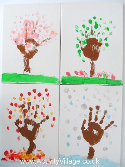 Season Crafts For Preschoolers  Seasonal Tree Canvases