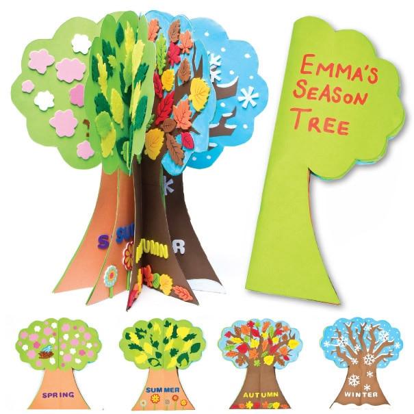 Season Crafts For Preschoolers  Season Tree Project Free Craft Ideas