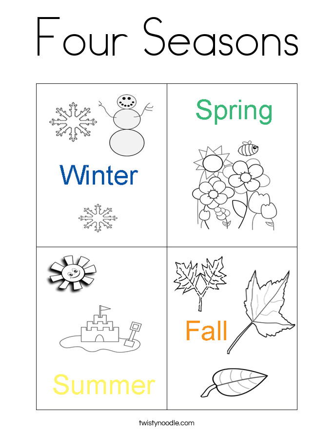 Seasons Coloring Pages  Four Seasons Coloring Page Twisty Noodle