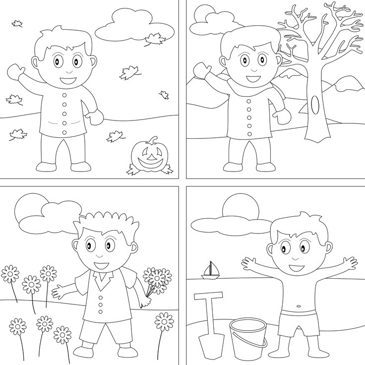 Seasons Coloring Pages  Season clipart coloring Pencil and in color season