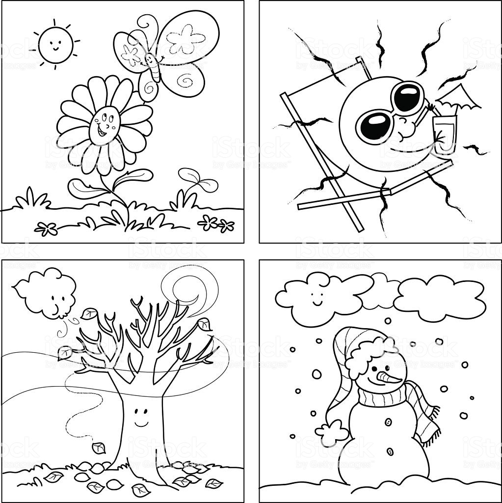 Seasons Coloring Pages  Four Seasons Coloring Vector Stock Vector Art & More