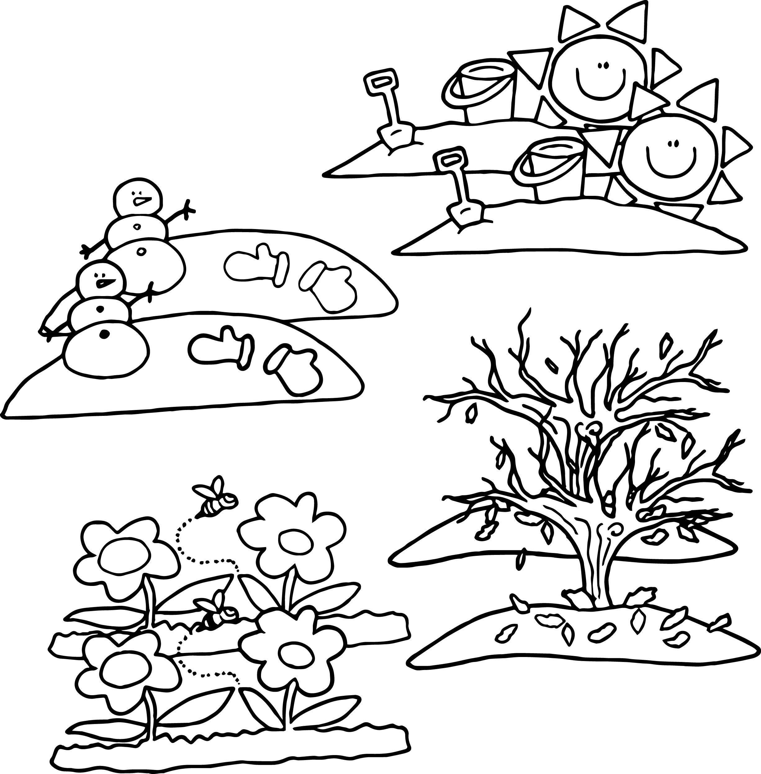 Seasons Coloring Pages  4 Seasons Cartoon Coloring Page