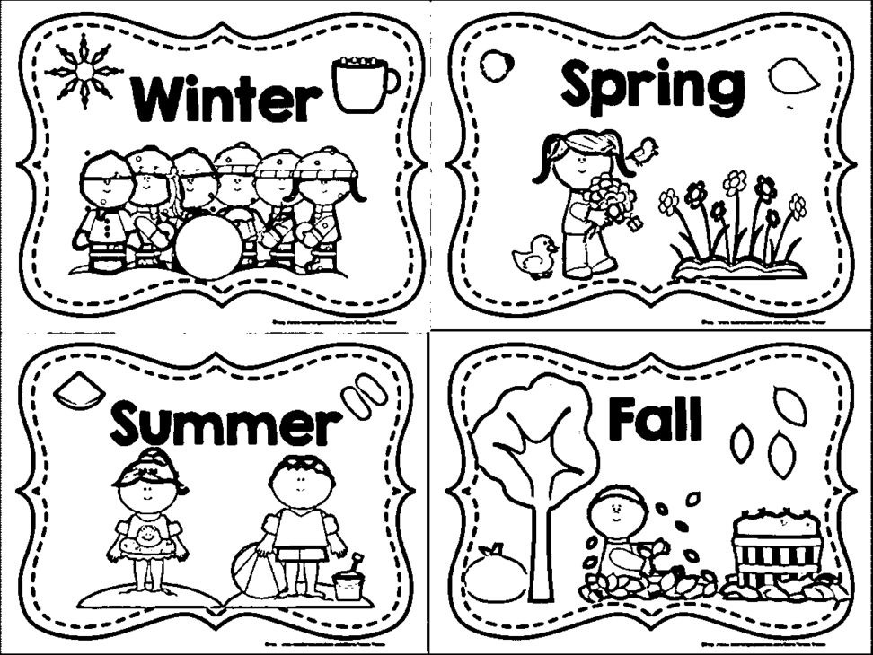 Seasons Coloring Pages  Four Seasons Coloring Pages For Kindergarten New