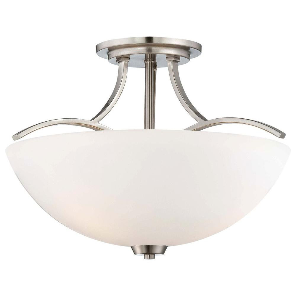Best ideas about Semi Flush Mount Lighting . Save or Pin Minka Lavery Overland Park 3 Light Brushed Nickel Semi Now.