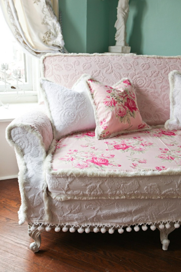 Best ideas about Shabby Chic Loveseat . Save or Pin 66 Shabby Chic Living Room Ideas – Old And New In The Now.