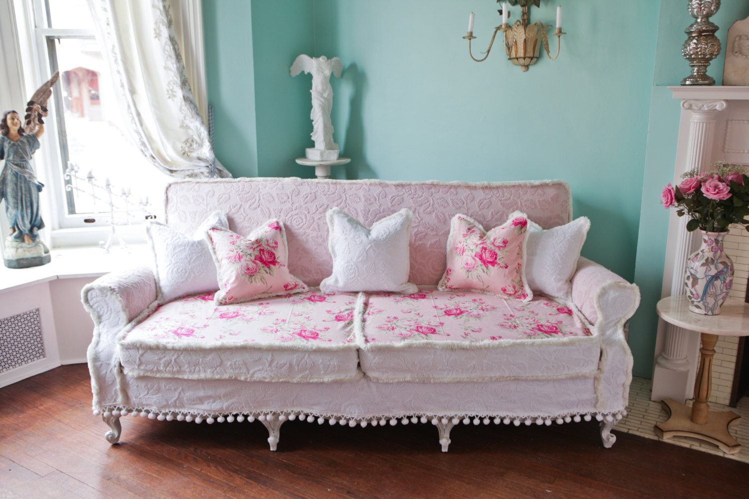 Best ideas about Shabby Chic Loveseat . Save or Pin shabby chic couch sofa cottage white pink antique vintage Now.