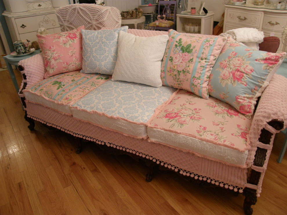 Best ideas about Shabby Chic Loveseat . Save or Pin shabby chic slipcovers Living Room Eclectic with basket Now.