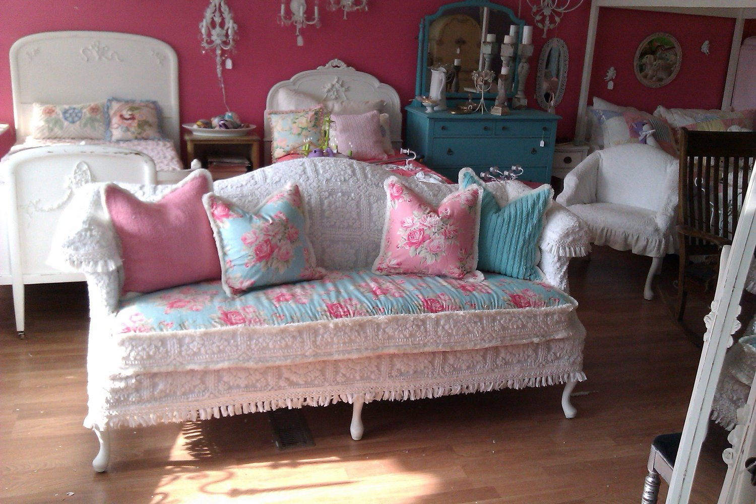 Best ideas about Shabby Chic Loveseat . Save or Pin shabby chic sofa couch chenille bedspread by Now.
