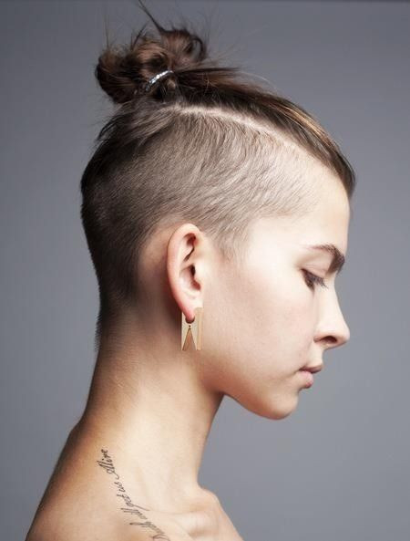 Best ideas about Shaved Undercut Hairstyles . Save or Pin shaved top knot Hair Pinterest Now.