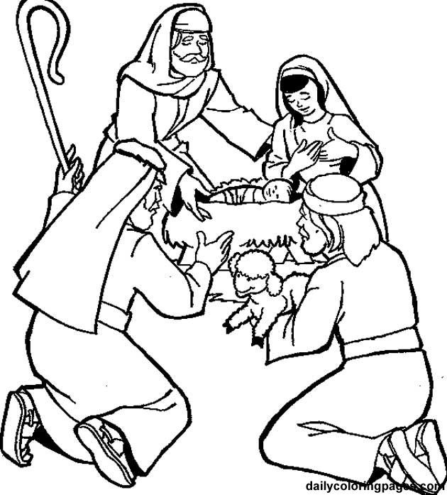 Shepherds Coloring Pages  Shepherds visit the baby coloring page