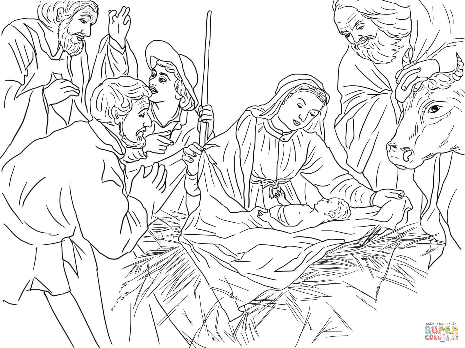 Shepherds Coloring Pages  Adoration of the Shepherds coloring page