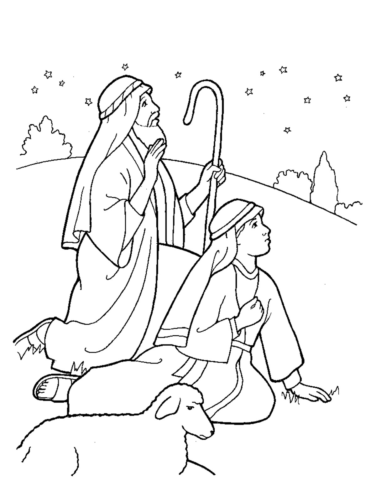 Shepherds Coloring Pages  Nativity Shepherds