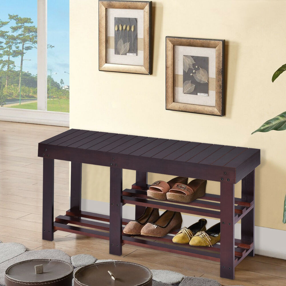 Best ideas about Shoe Benches Entryway . Save or Pin Wooden Shoe Bench Boot Storage Shelf Organizer Seat Now.