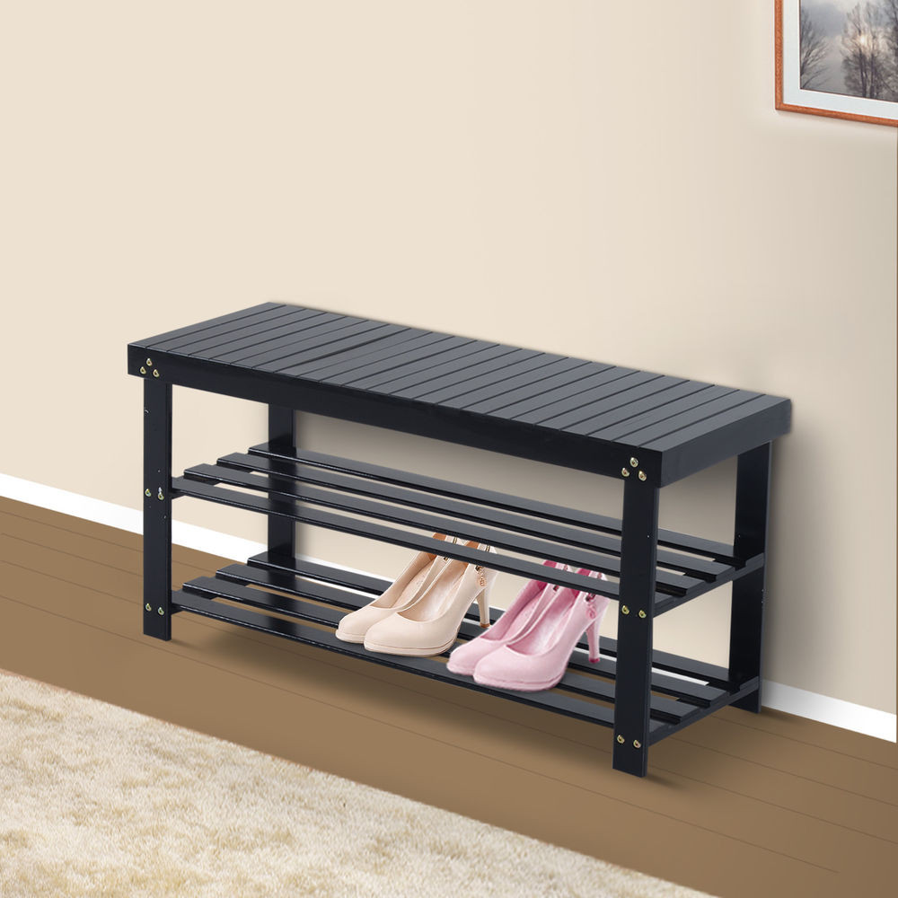 Best ideas about Shoe Benches Entryway . Save or Pin Wooden Shoe Bench Storage Seat 2 Shelves Rack Organizer Now.