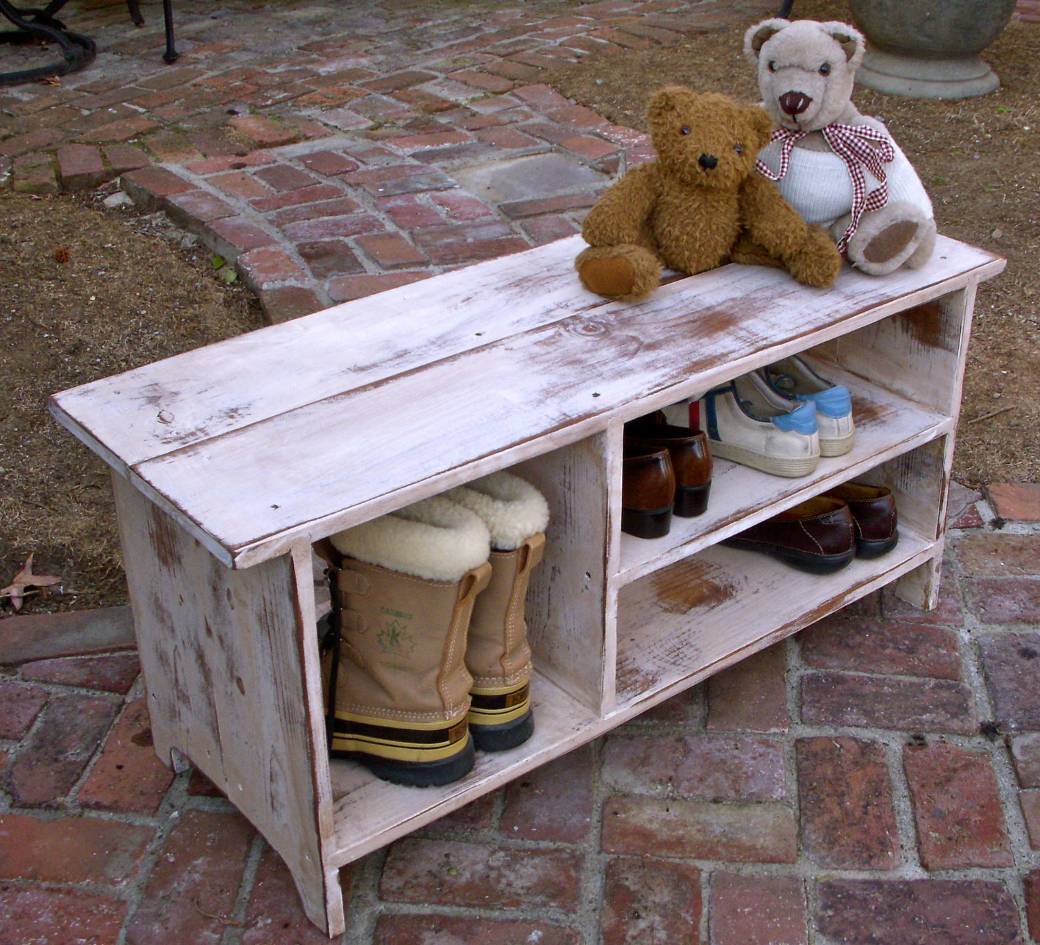 Best ideas about Shoe Benches Entryway . Save or Pin Wood Shelf Storage Shoe Bench Entryway Hall Shoe Now.