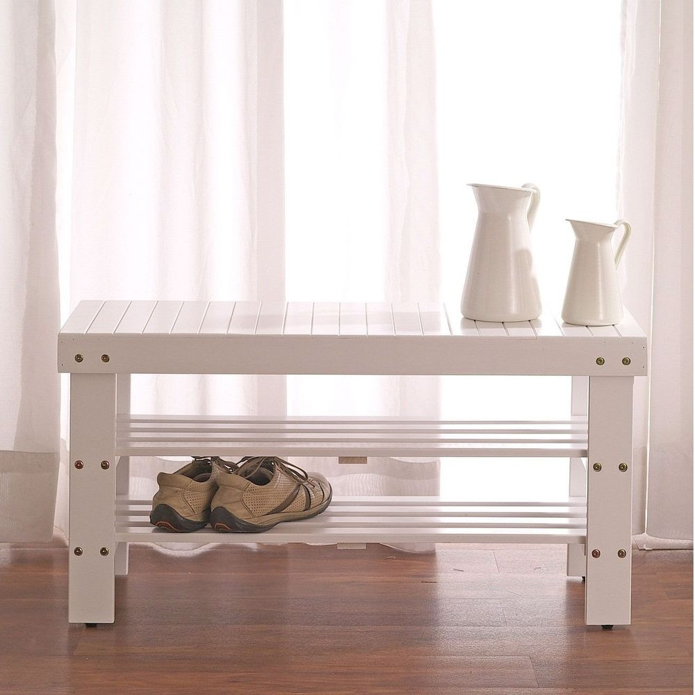Best ideas about Shoe Benches Entryway . Save or Pin Solid Wood Shoe Rack Entryway Storage Bench in White Now.