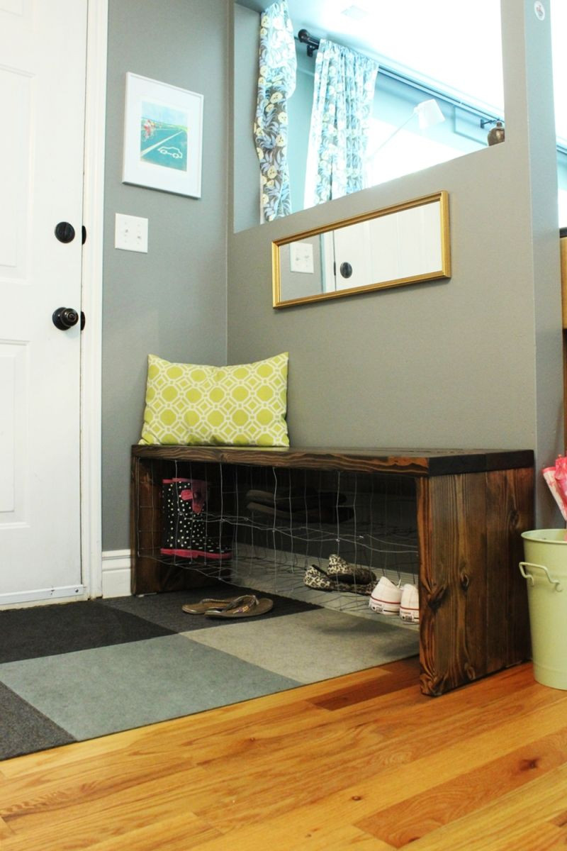 Best ideas about Shoe Benches Entryway . Save or Pin DIY Industrial Entry Shoe Bench Now.