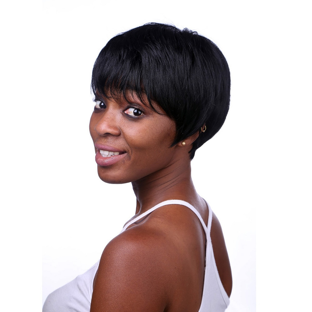 Short Black Hairstyle Wigs  Aliexpress Buy Rihanna Hairstyle Black Wig Short