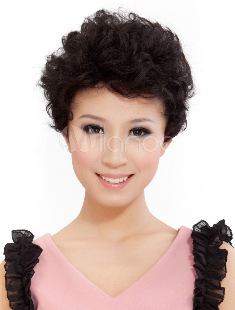 Short Black Hairstyle Wigs  Real hair Fashion wig New Charm Women s Short Black