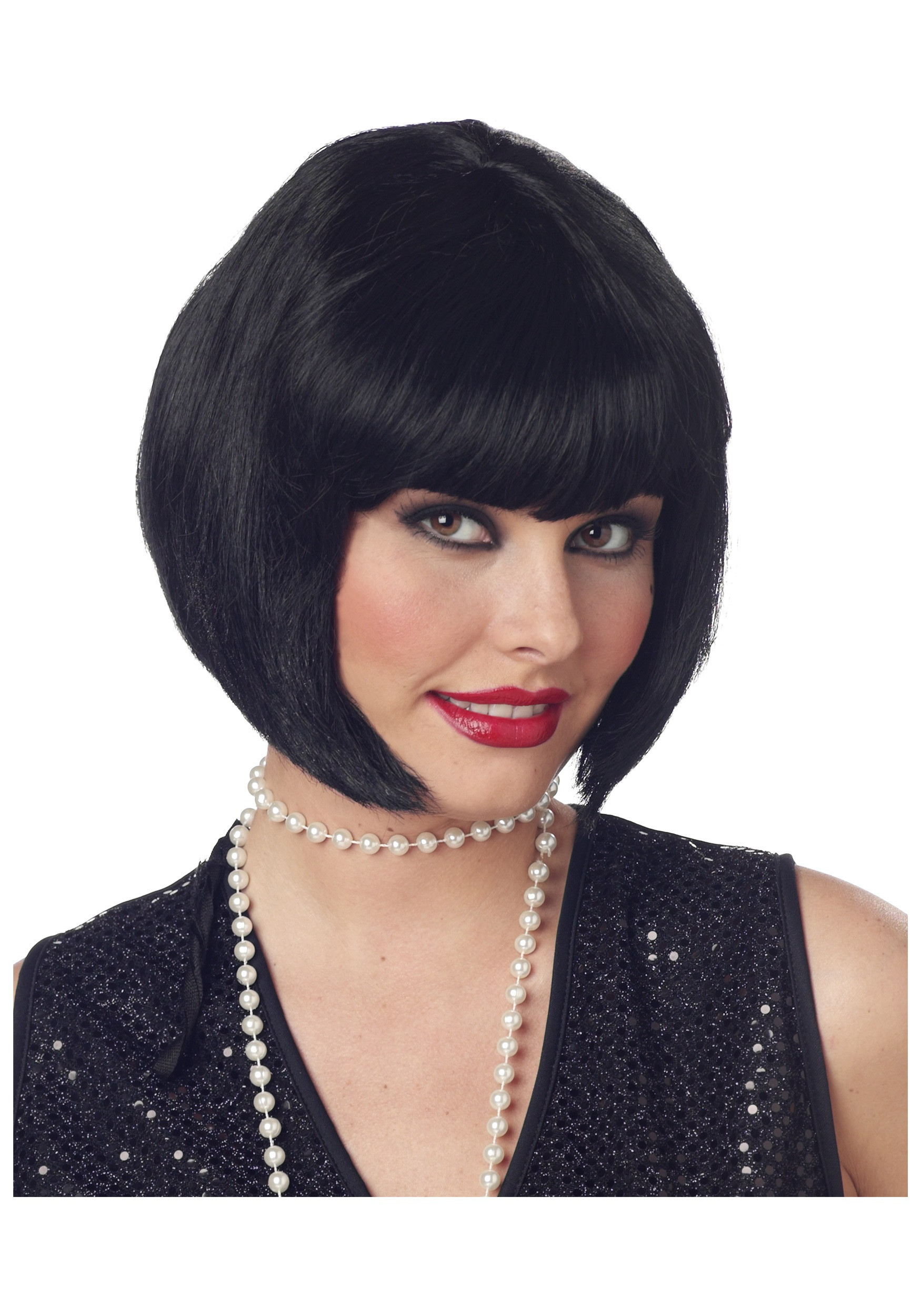 Short Black Hairstyle Wigs  Short Black Bob Wig Flapper Hair Styles Wigs