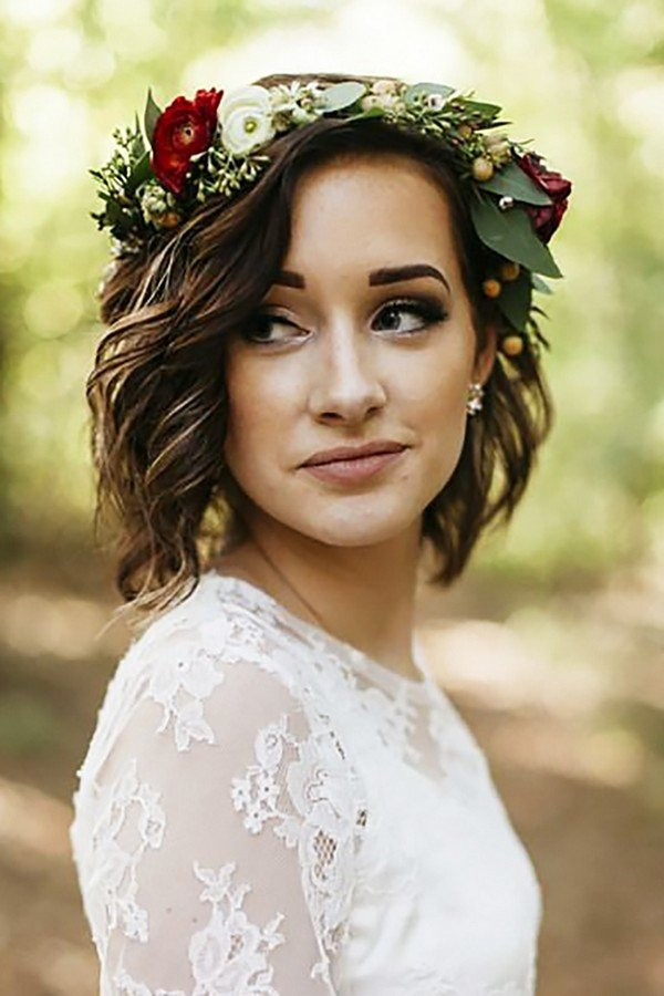 Short Bridesmaids Hairstyles  18 Gorgeous Wedding Hairstyles with Flower Crown Oh Best