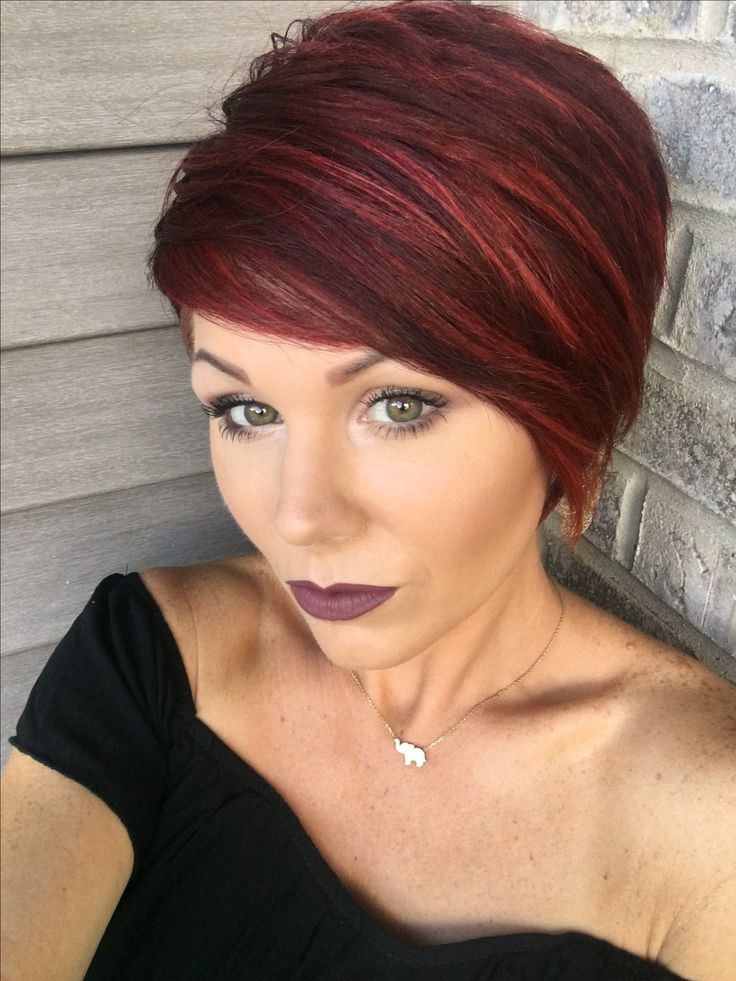 Short Highlights Hairstyles  short dark hairstyles with red highlights Eye Catching