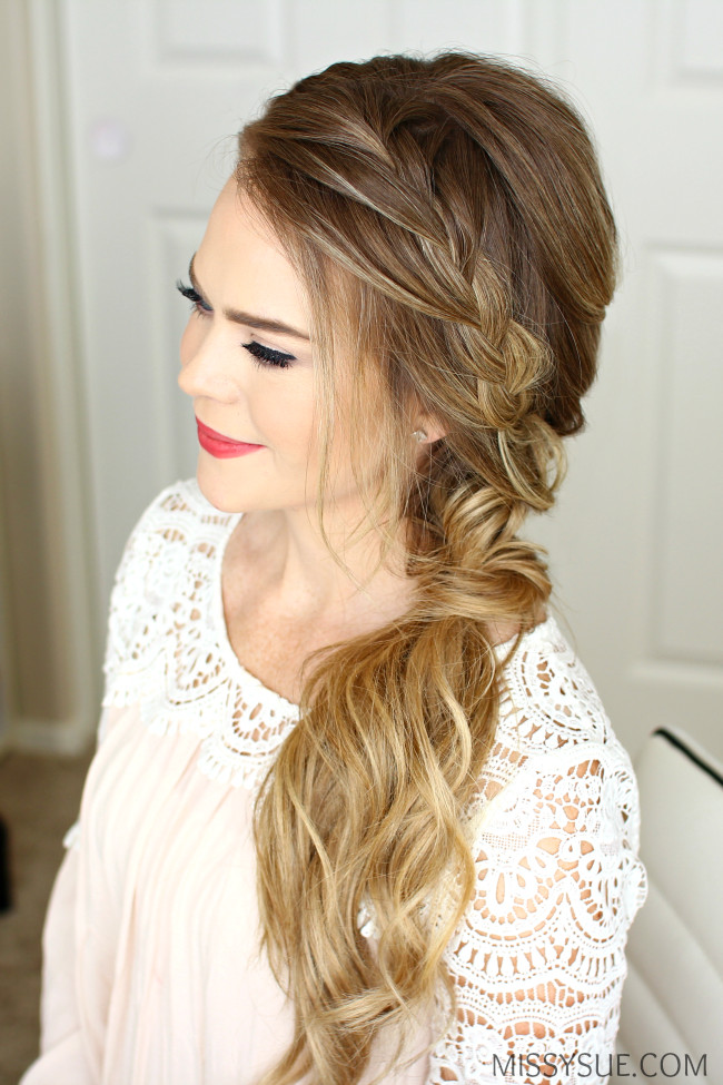 Side Hairstyles For Prom  Braided Side Swept Prom Hairstyle