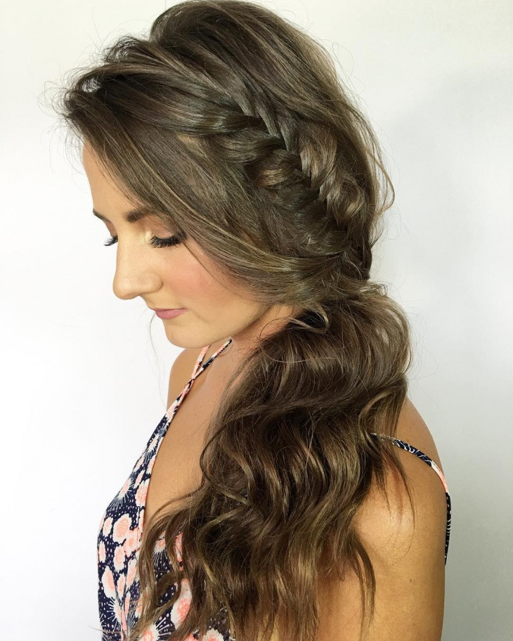 Side Hairstyles For Prom  Prom Hairstyles Side Curls With Braid HairStyles
