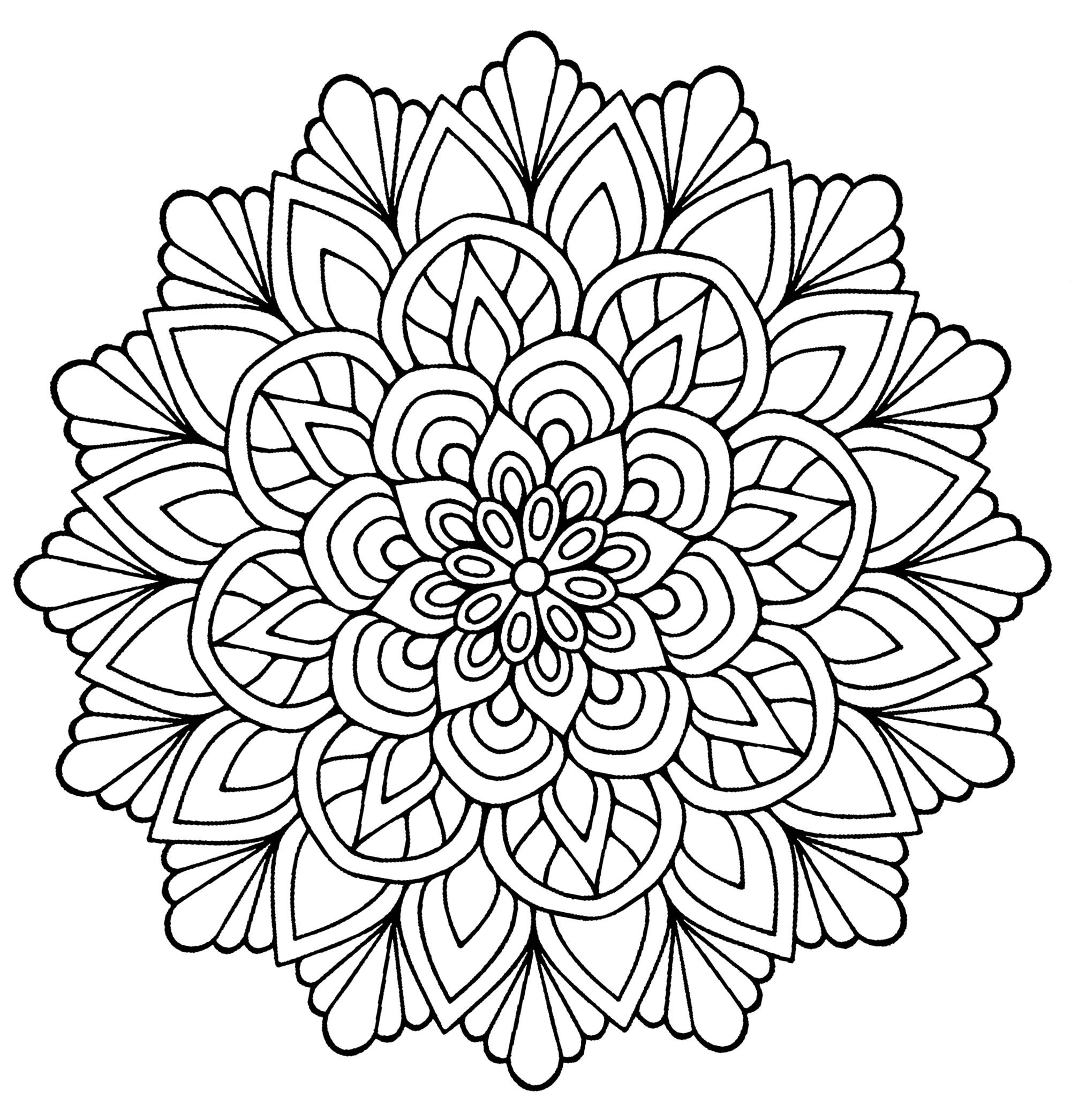 Simple Adult Coloring Pages  Mandala easy flower with leaves Simple Mandalas