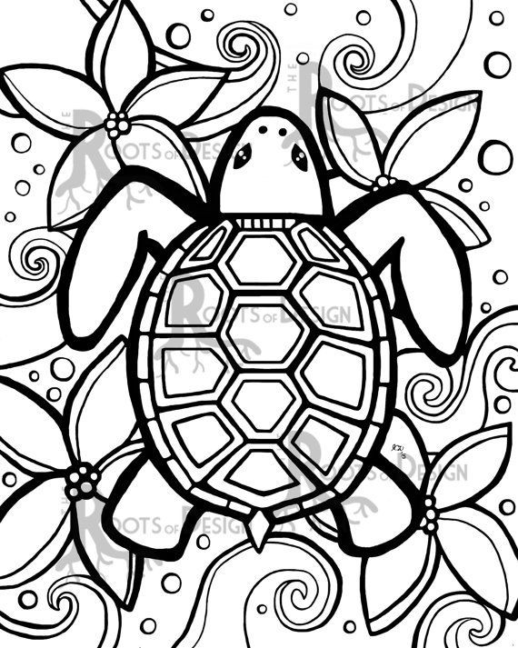 Simple Adult Coloring Pages  INSTANT DOWNLOAD Coloring Page Simple Turtle zentangle