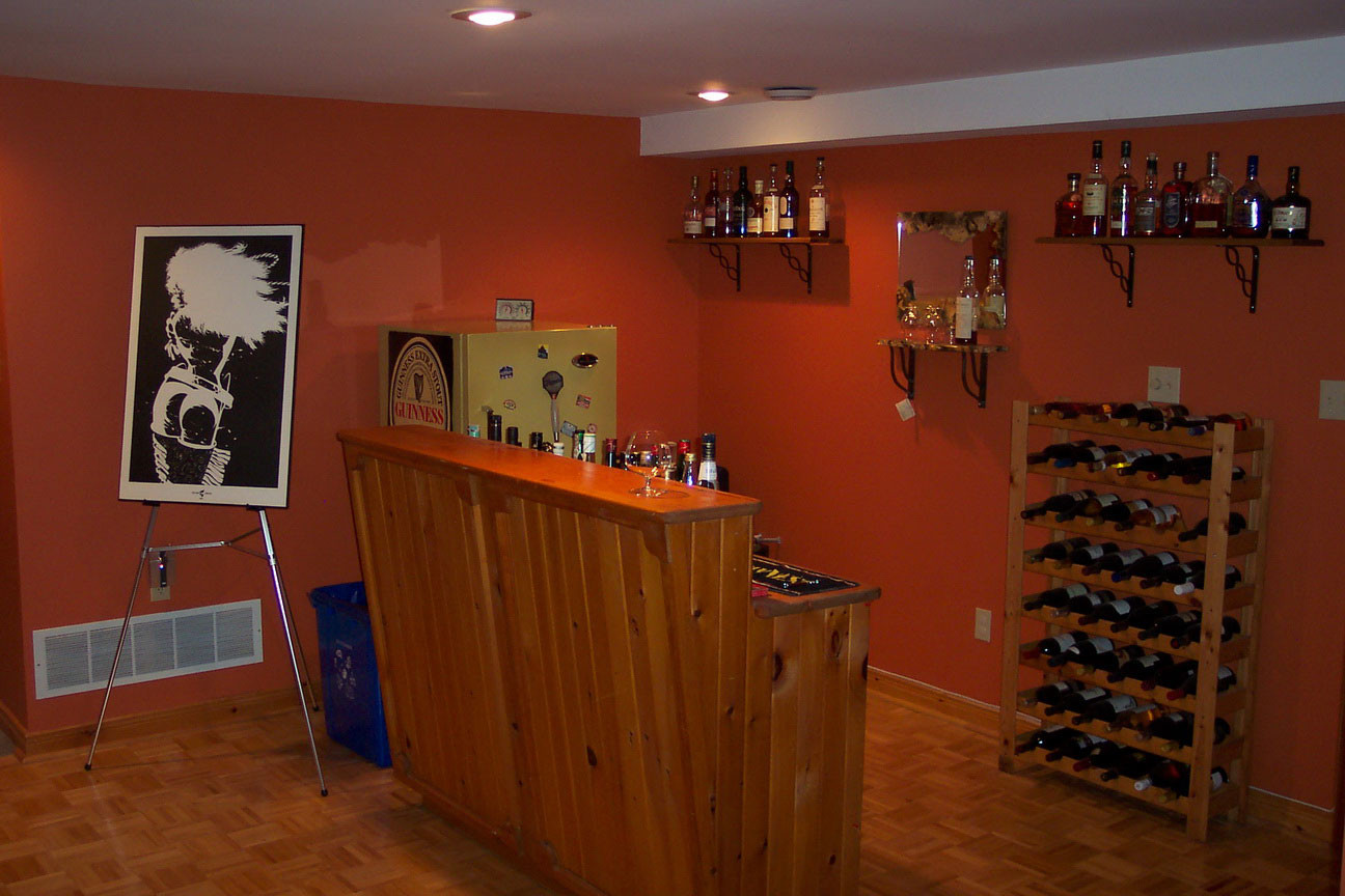 Best ideas about Simple Basement Ideas . Save or Pin Cool Orange Accents Wall Paint Home Basement Bar Now.