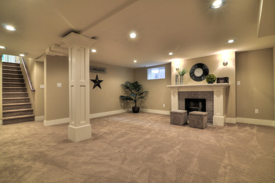Best ideas about Simple Basement Ideas . Save or Pin simple lots of lights Basement renovation basement Now.