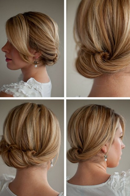 Simple Bridesmaid Hairstyles  Smooth Simple Flattering Updo Hairstyle for Long Hair