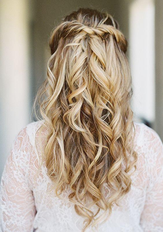 Simple Bridesmaid Hairstyles  simple half up half down wdding hairstyle idea via Lane
