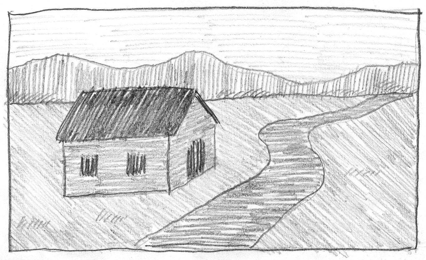 Best ideas about Simple Landscape Drawing . Save or Pin Landscape with Hatching Shading Now.