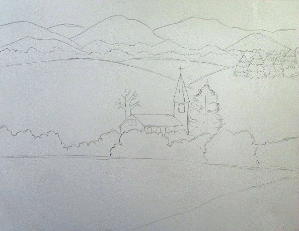 Best ideas about Simple Landscape Drawing . Save or Pin Color Pencil Landscape Drawing Now.