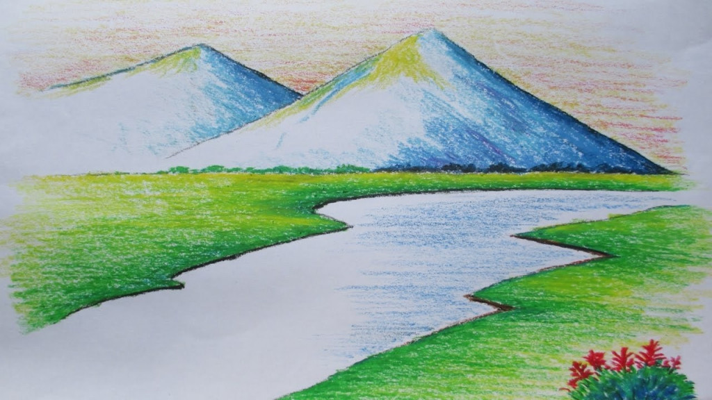 Best ideas about Simple Landscape Drawing . Save or Pin Landscape Drawing Easy Drawing Sketch Library Now.