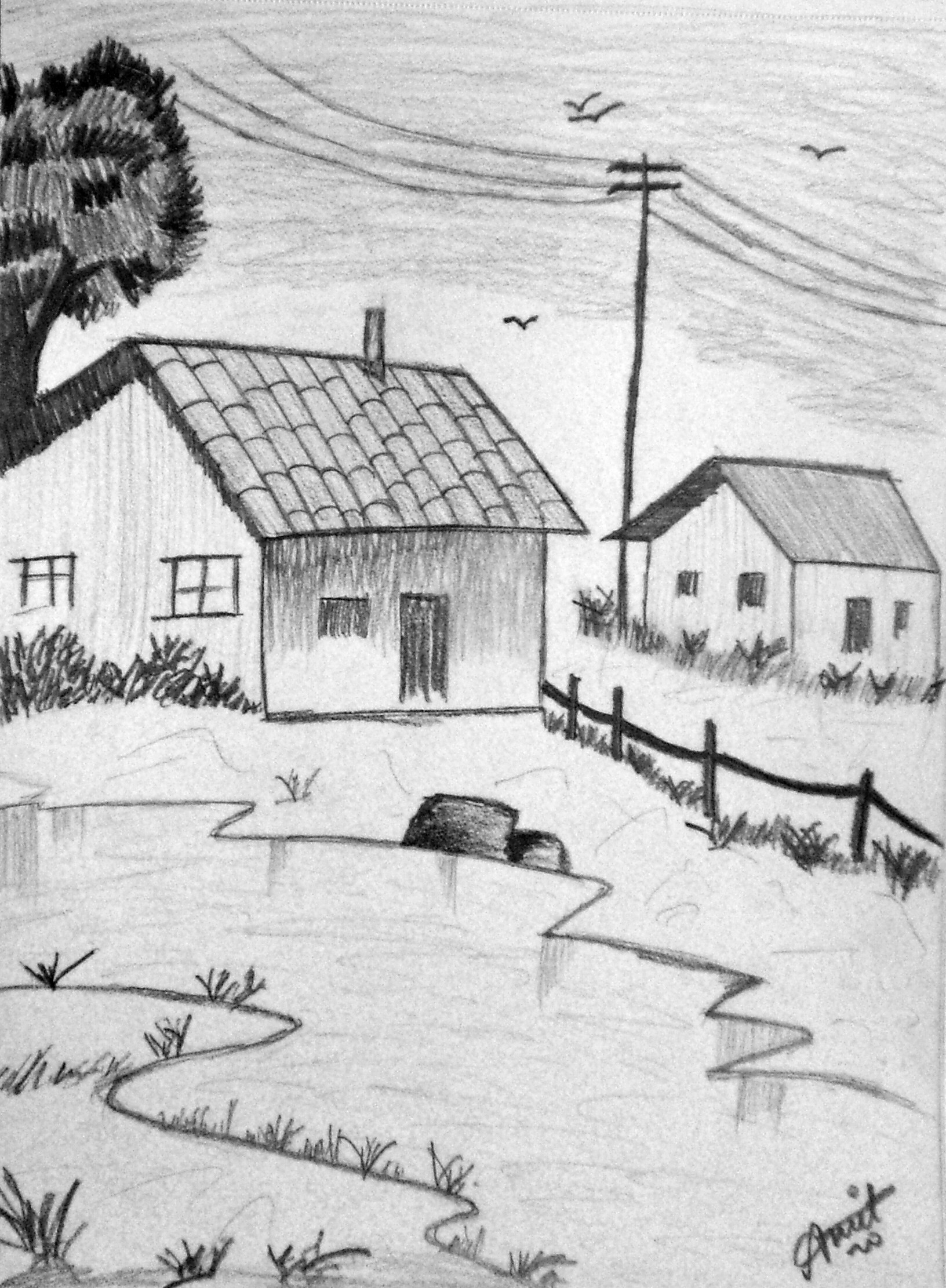 Best ideas about Simple Landscape Drawing . Save or Pin Landscaping Drawing Now.
