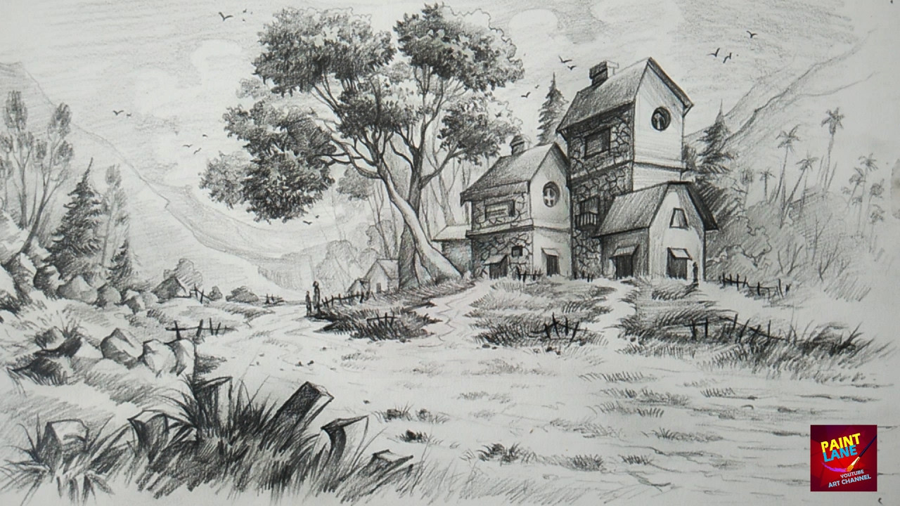 Best ideas about Simple Landscape Drawing . Save or Pin Easy Landscape Drawings Pencil How To Draw And Shade A Now.