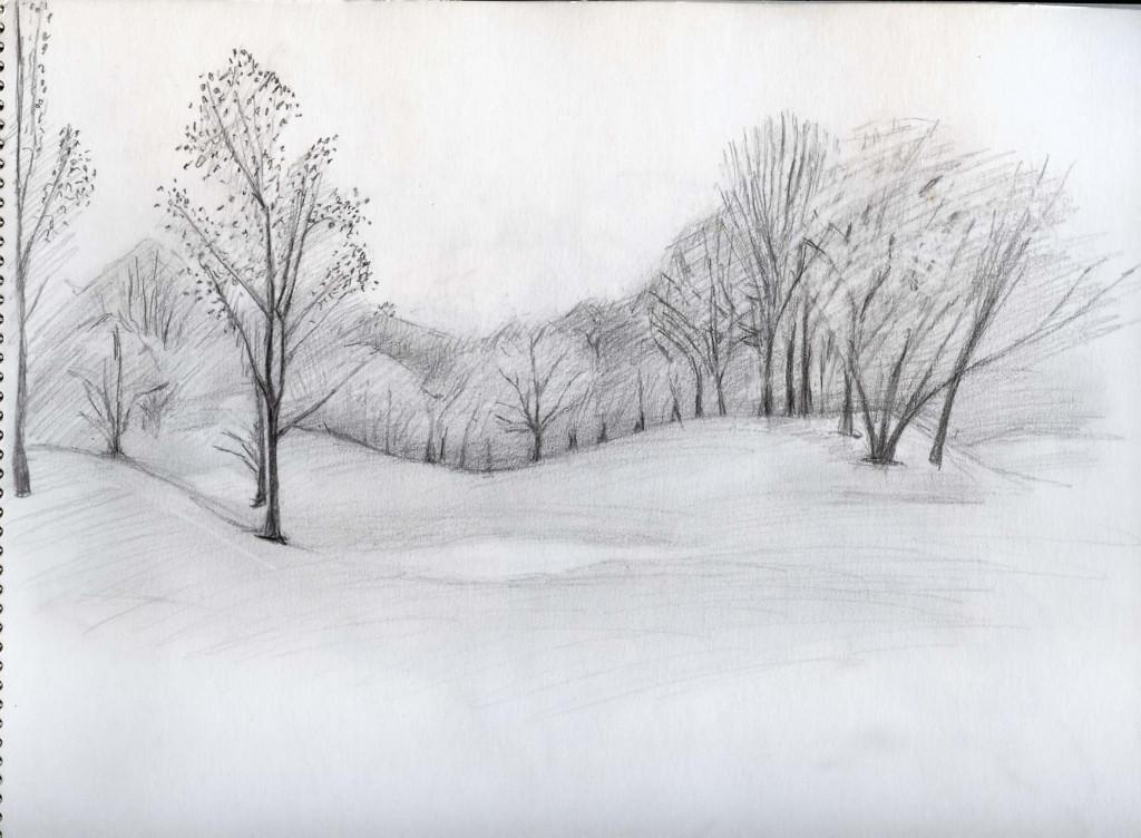 Best ideas about Simple Landscape Drawing . Save or Pin Easy Landscape Drawings Drawing Pencil Now.