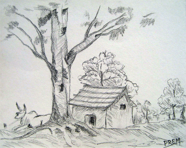 Best ideas about Simple Landscape Drawing . Save or Pin Art By Prem • Easy House Landscape Drawings Now.