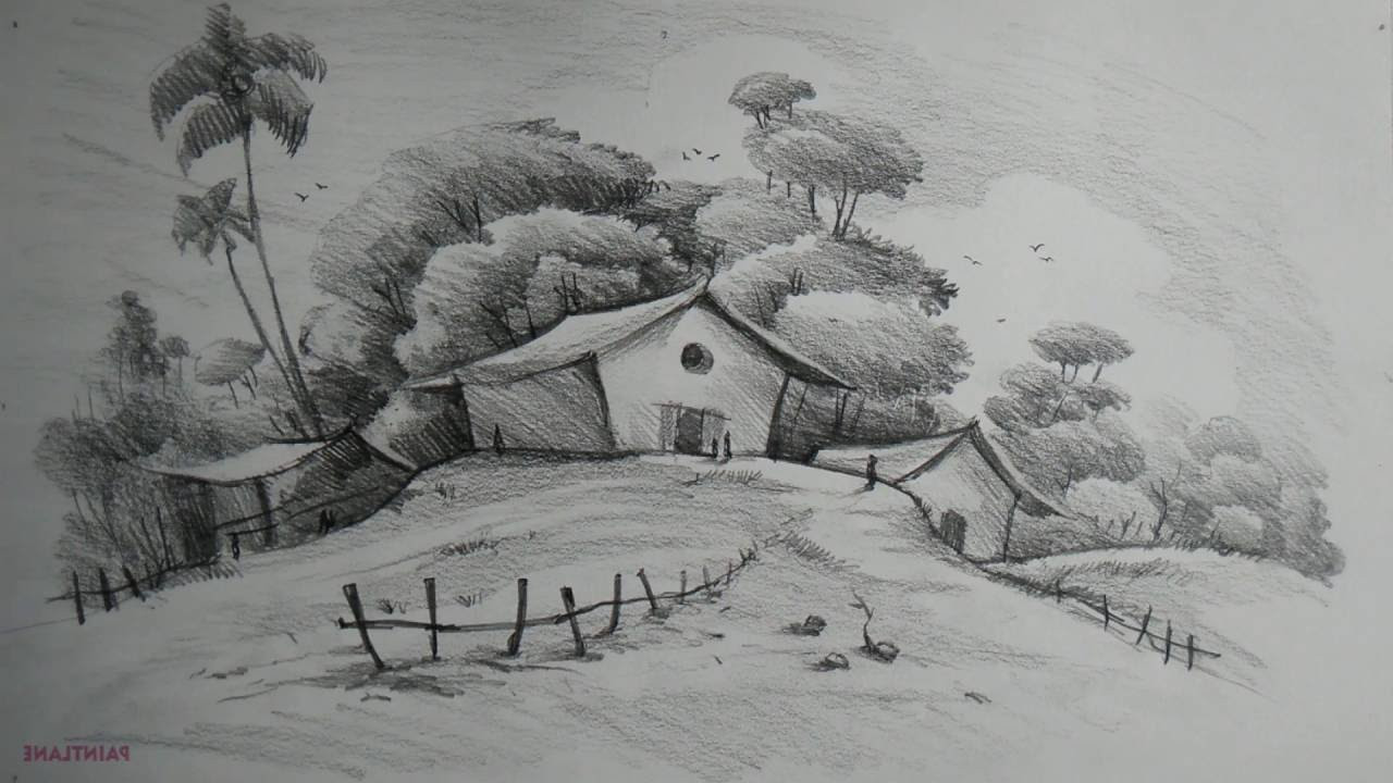Best ideas about Simple Landscape Drawing . Save or Pin Easy Scenery Paintings For Beginners Black And White Now.