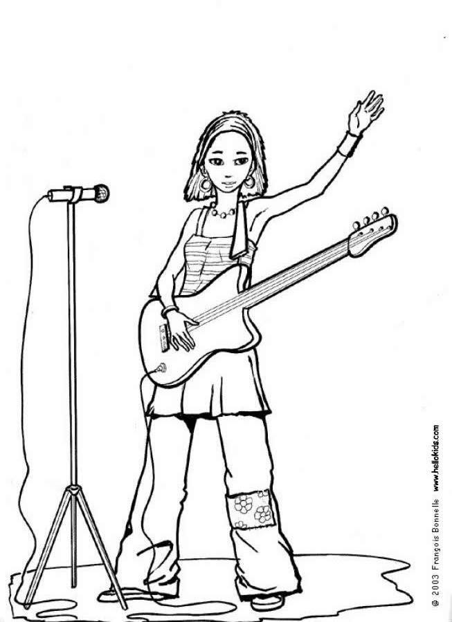 Singer Coloring Pages For Kids  Desenhos para colorir de desenho de uma cantora sua
