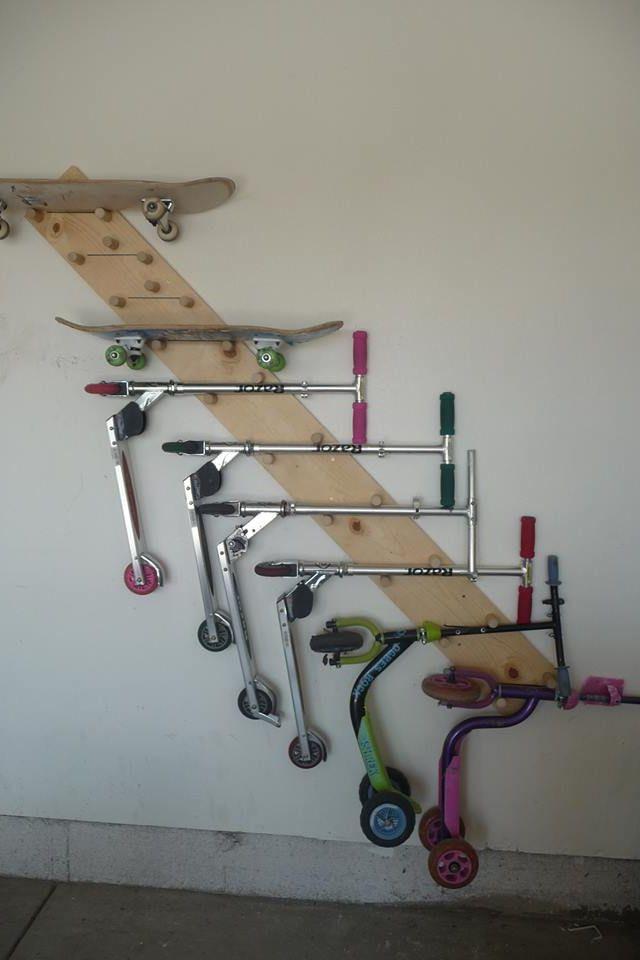 Skateboard Rack DIY  Scooter skateboard holder Garage Pinterest