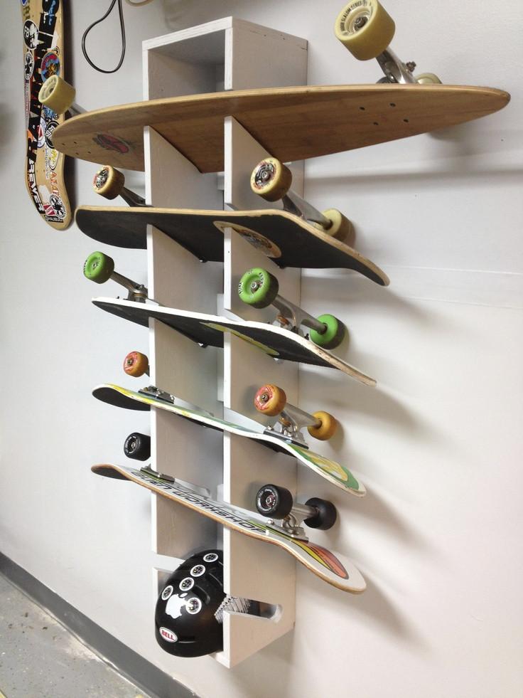 Skateboard Rack DIY  Skateboard Rack I made Long boarding ♡